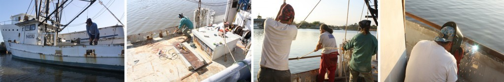(Left to Right) Inspecting the port side bulwark; Prepping the bulwark for the new gunwale; Holding the gunwale in place; Welding the gunwale onto the bulwark