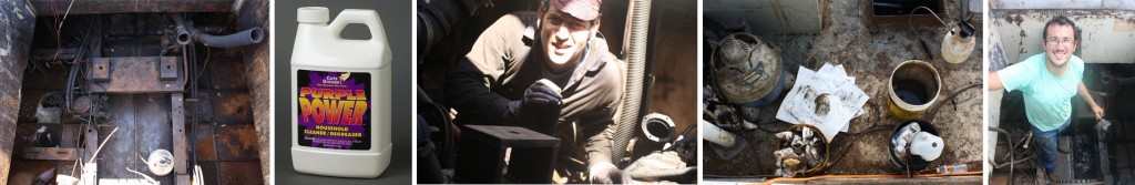 """What a greasy bilge looks like from above; an example of """"purple stuff""""; Navigating the tangle of engine-related parts in the bilge; a typical scene from a day of bilge-cleaning; Hitting the jackpot of a super-thick grease deposit after cutting out the engine oil pan"""