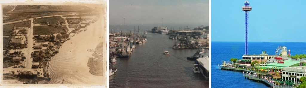 The evolution of a place: the city of Kemah as a sleepy waterfront town, as a bustling working waterfront, and as popular family theme park (left to right). Photo credits: University of North Texas (left photo); Hooked Up on 2coolfishing.com forum (middle photo); Greater Houston CVB (right photo).