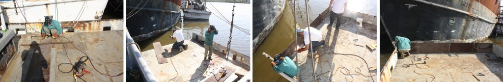 (Left to Right) Cutting the new bulwark for the transom; Prepping the deck for the bulwark; Welding the bulwark in place; Making final adjustments to the bulwark