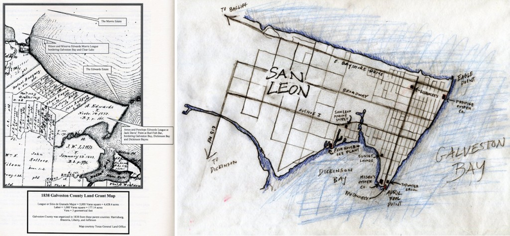 Map reprinted from History of San Leon, Vol.1 by Alecya Gallaway (Left); Shrimp Boat Projects map of San Leon (Right)